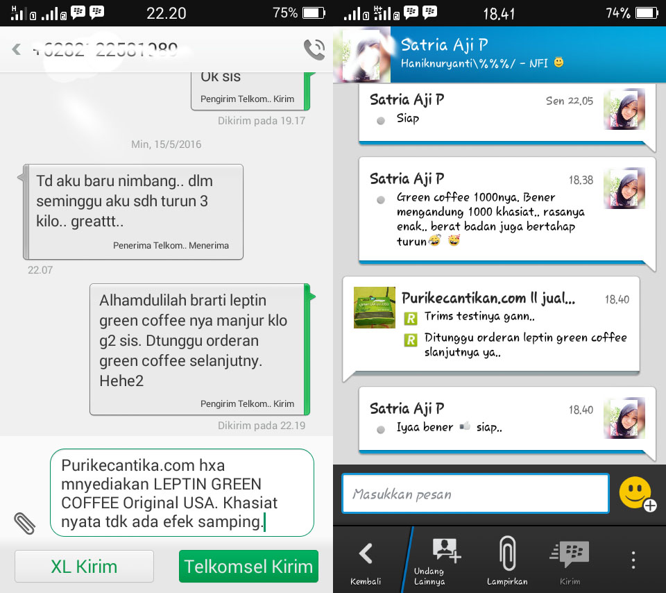 testimoni leptin green coffee 1000